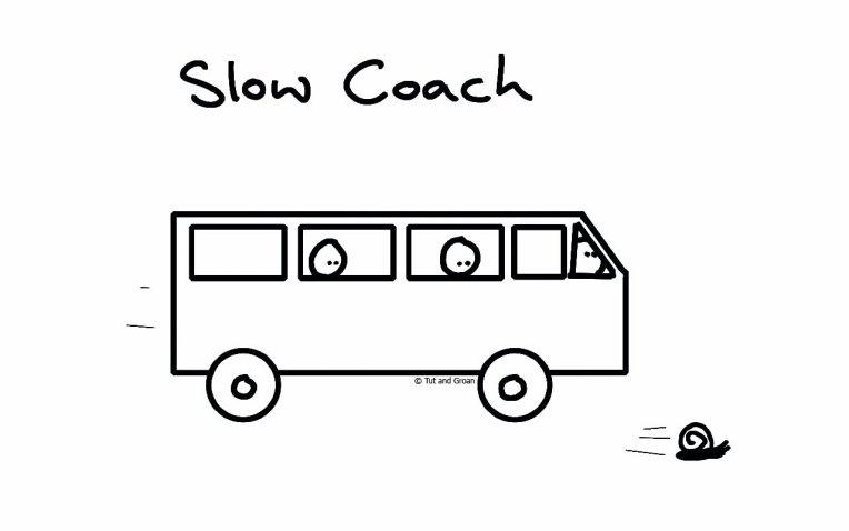 Tut and Groan Slow Coach cartoon