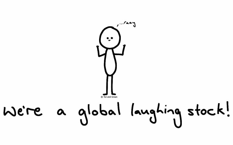 Tut and Groan Global LAughing Stock cartoon