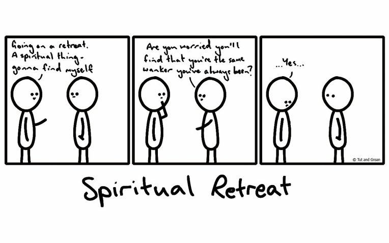 Tut and Groan Three Panels: Spiritual Retreat cartoon