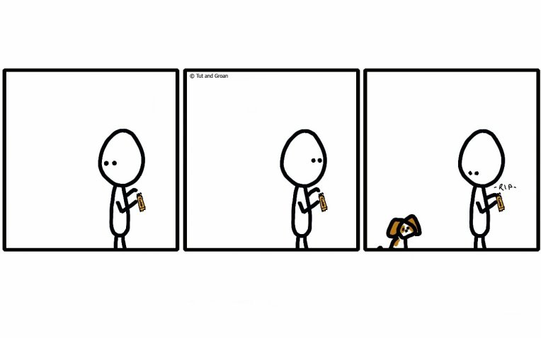 Tut and Groan Three Panels: Can Dogs Teleport cartoon