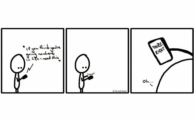 Tut and Groan Three Panels: Going Nowhere cartoon