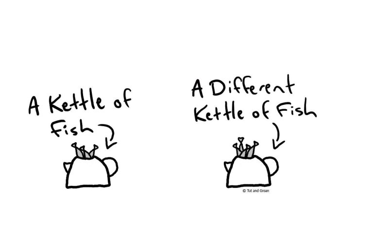Tut and Groan A Different Kettle of Fish cartoon