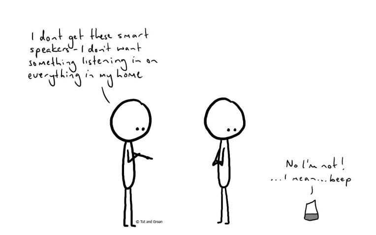 Tut and Groan Smart Speakers cartoon