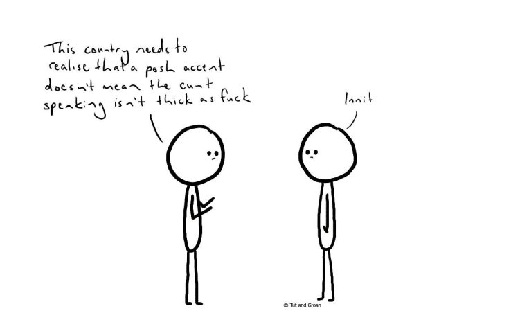 Tut and Groan Posh Accent cartoon