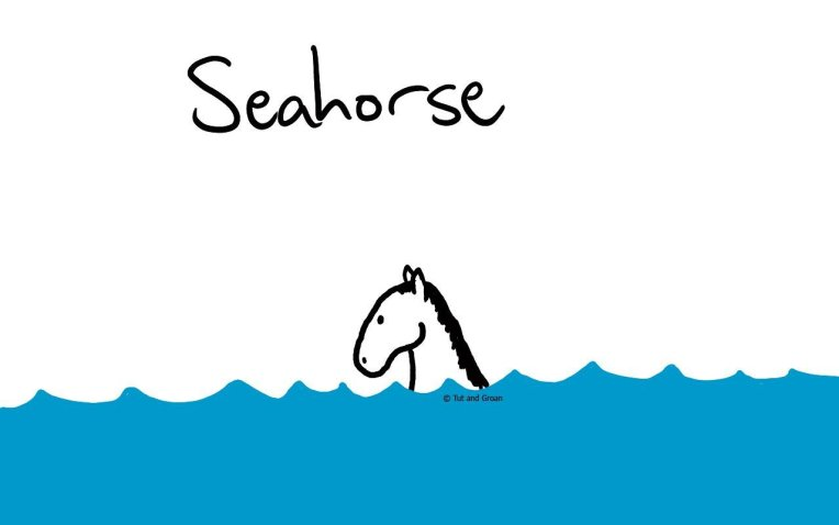 Tut and Groan Seahorse cartoon