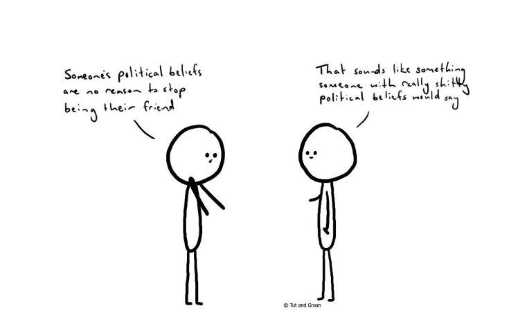 Tut and Groan Political Beliefs cartoon