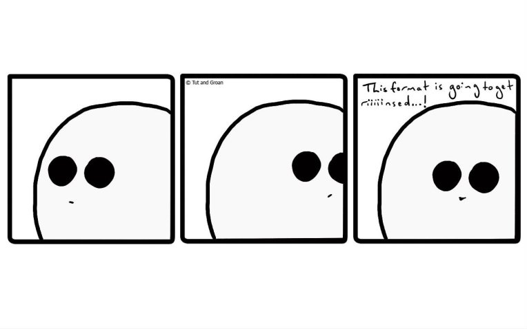 Tut and Groan Three Panels: Format cartoon