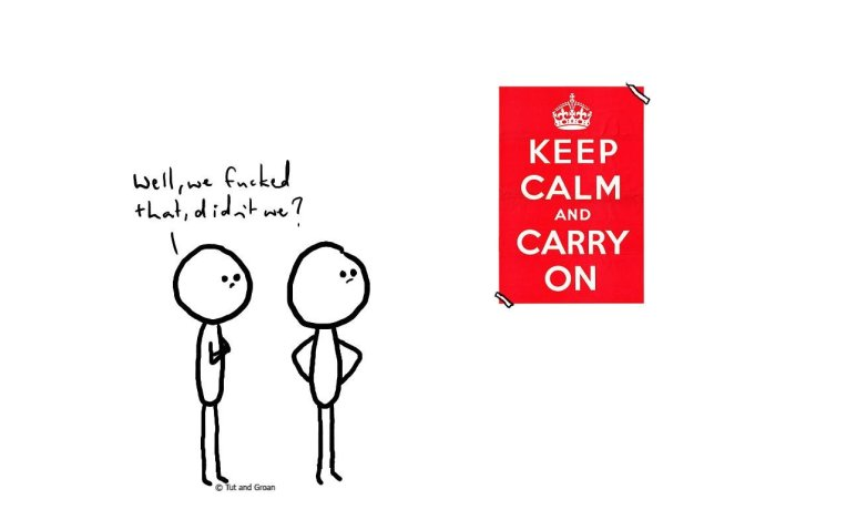 Tut and Groan Keep Calm cartoon