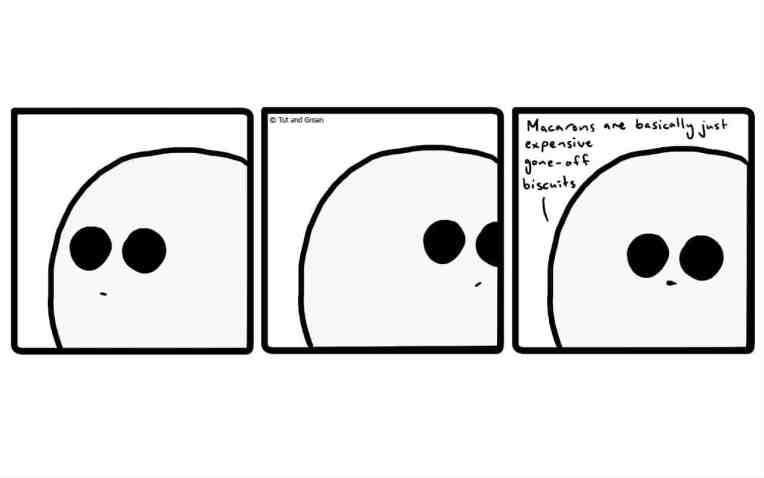 Tut and Groan Three Panels: Macarons cartoon