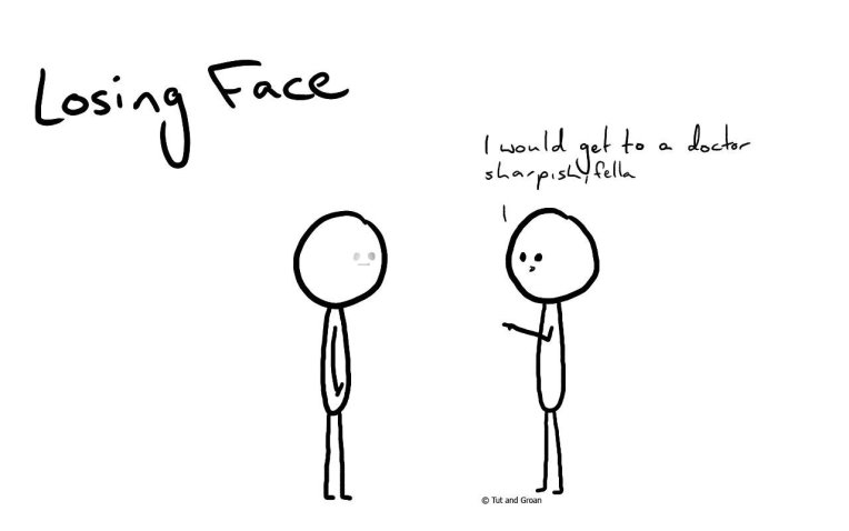 Tut and Groan Losing Face cartoon