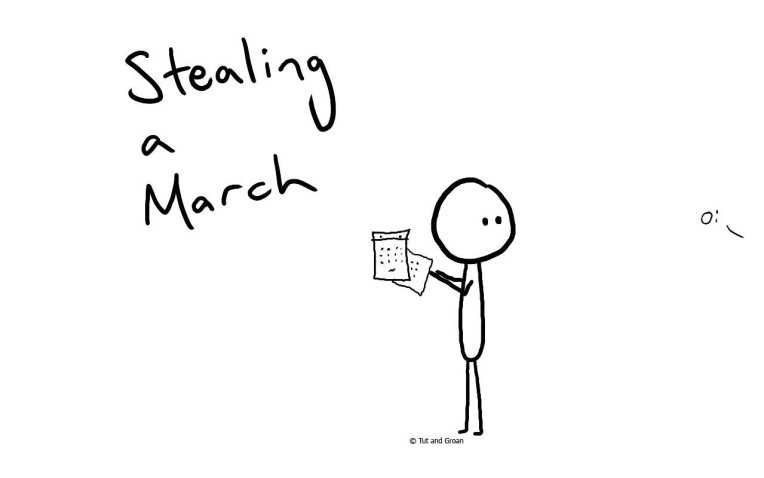 Tut and Groan Stealing a March cartoon