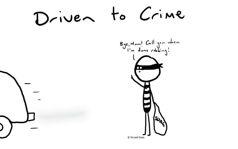 Tut and Groan Driven to Crime cartoon