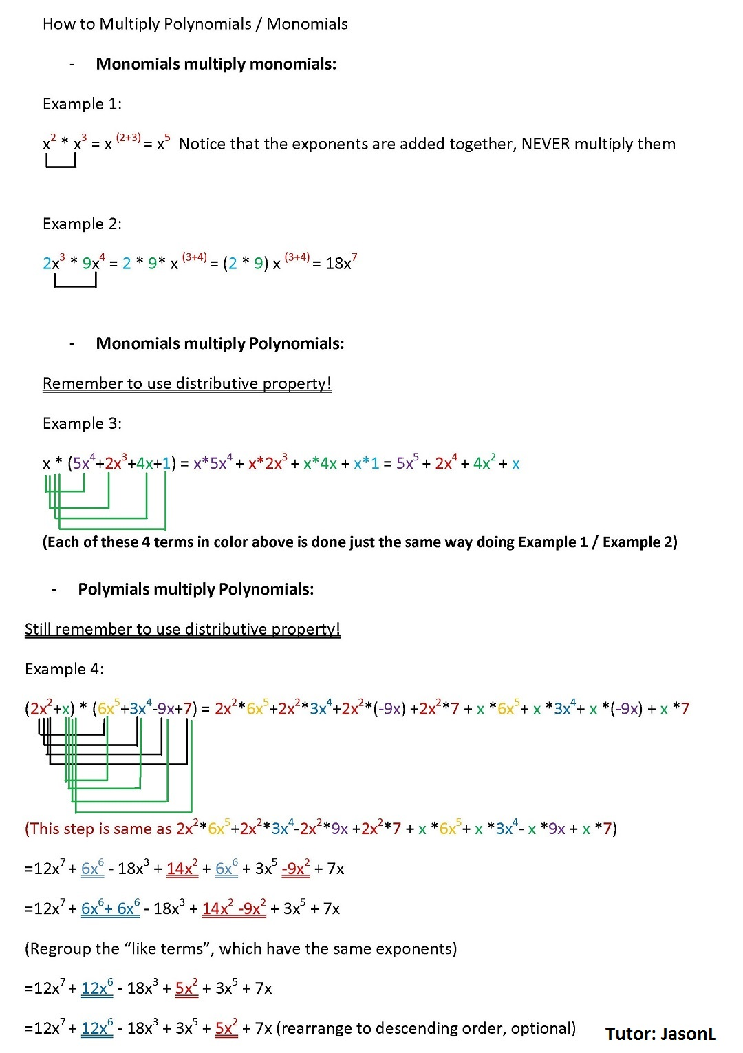 How To Multiply Polynomials Monomials
