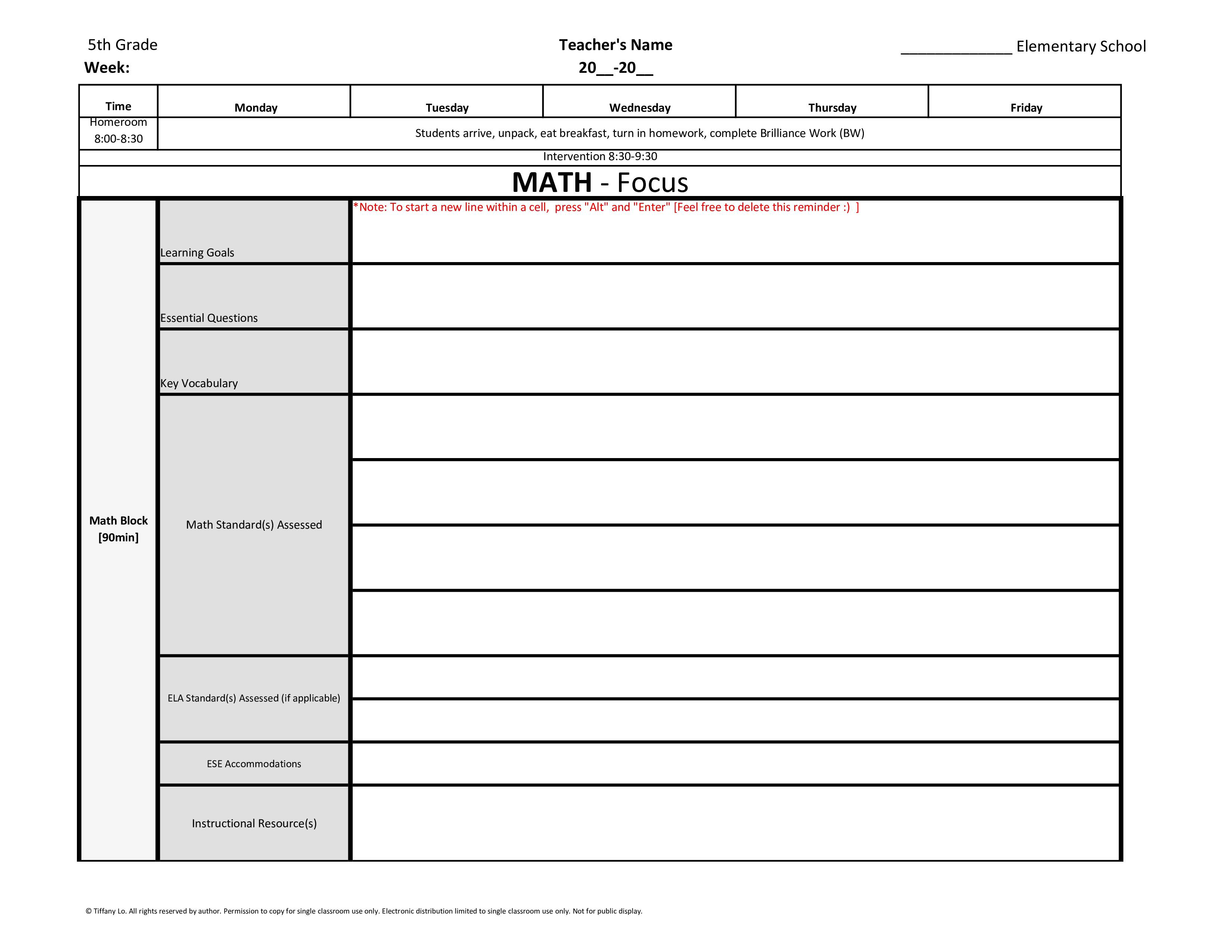 5th Fifth Grade Common Core Weekly Lesson Plan Template W