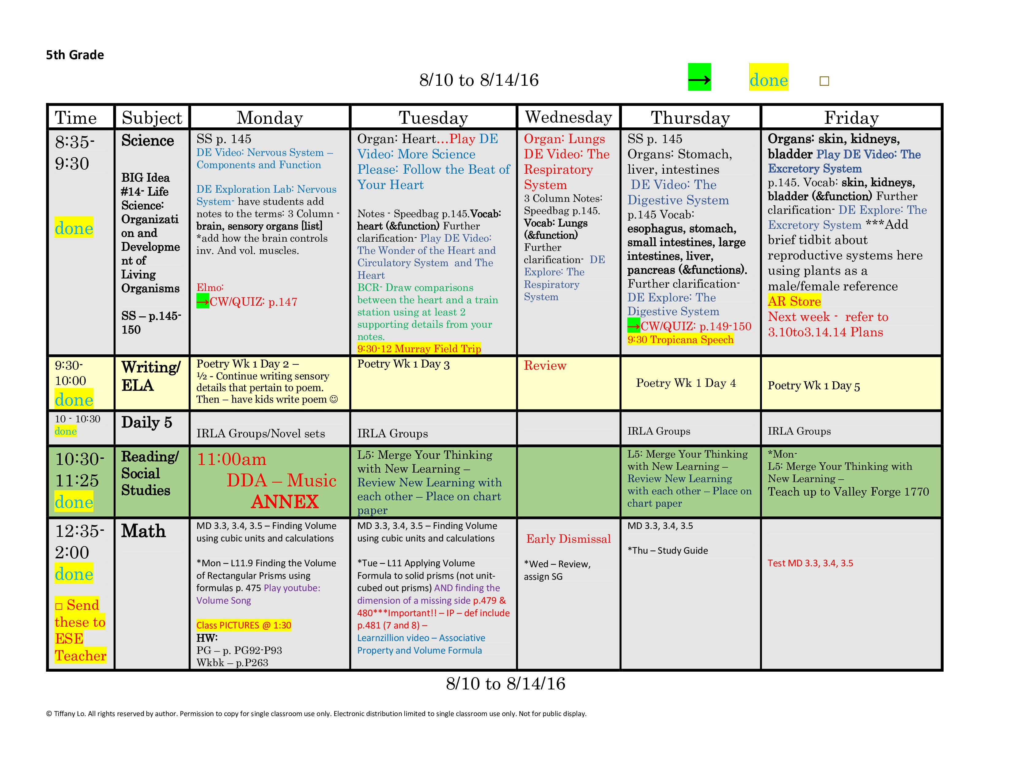 5th Fifth Grade Lesson Plan Template One Week One Page Glance Of All Subjects With Common Core