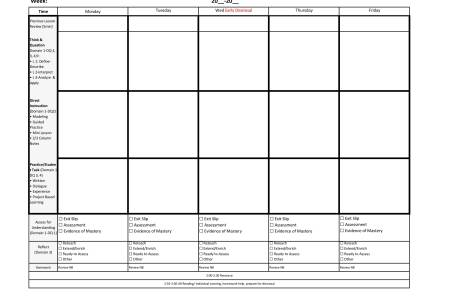 Financial Template For Business Plan Weekly Lesson Plan Template