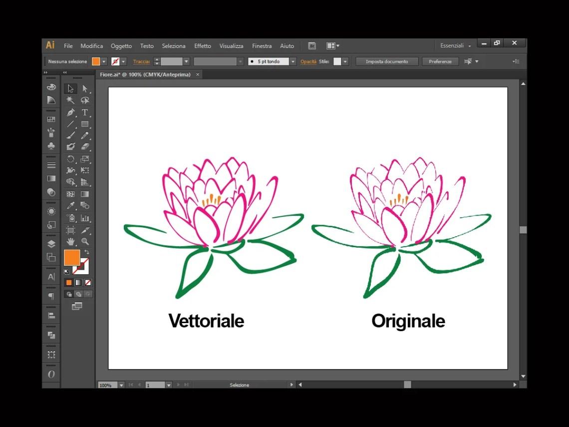 Fiore vettoriale e originale a confronto