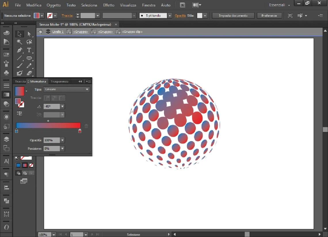 Cerchio 3D con pallini sfumati dal rosso al celeste