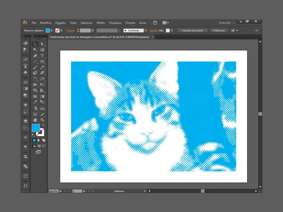 Il gatto Kikko colorato di celeste