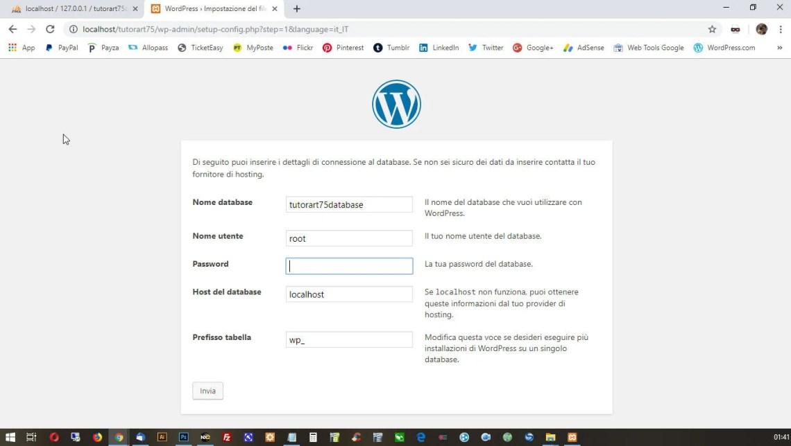 Settaggio di WordPress