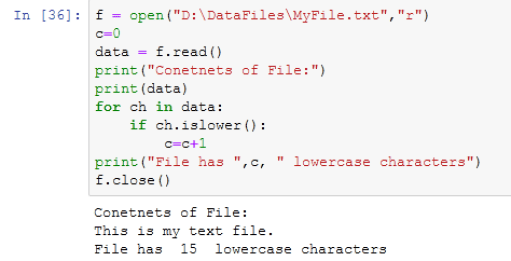 counting lowercase characters form text file in python