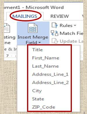 Insert Merge Field - Mail Merge