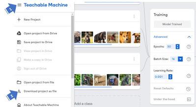 Save project Screen google teachable machine