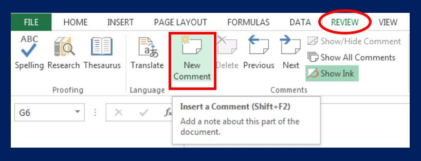 Add new Comment in excel