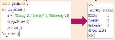 Creating series with dictionary - Data handling using Pandas-I
