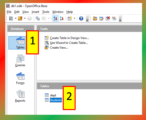 insert records into table in datasheet view in oo base