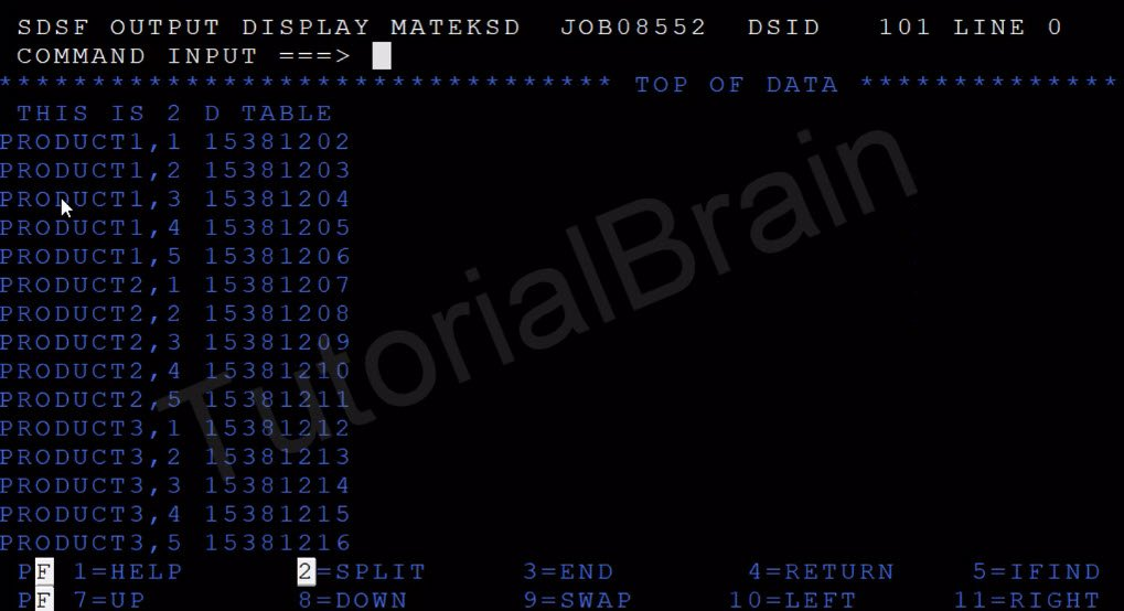 TutorialBrain-Output of Two Dimensional Array(Internal Table) of COBOL Program