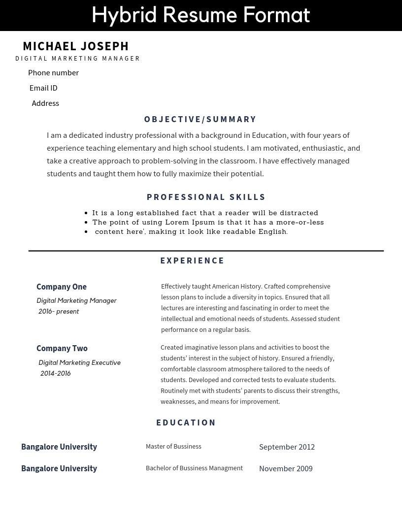 resume formats and free templates  u2014 tutorialbrain