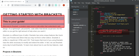 Brackets live preview highlight in browser