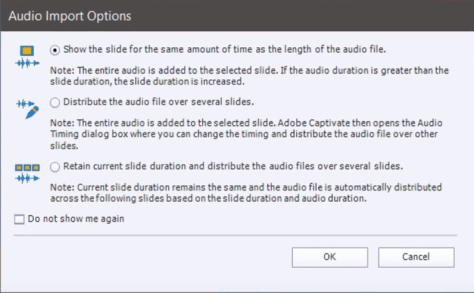 Adobe captivate adding audio multiple slides