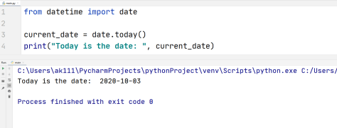 Python current date today function