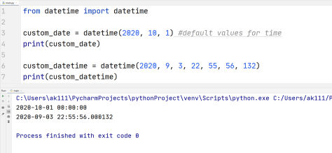 Python custom values datetime
