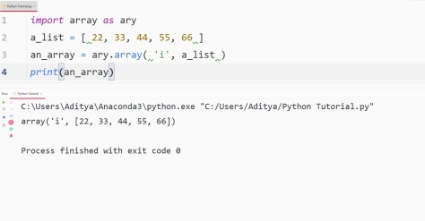 python convert list to array