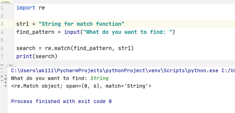 Python RegEx-findall() and match() example 2