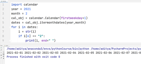 Python Calendar - Getting Dates of a Month