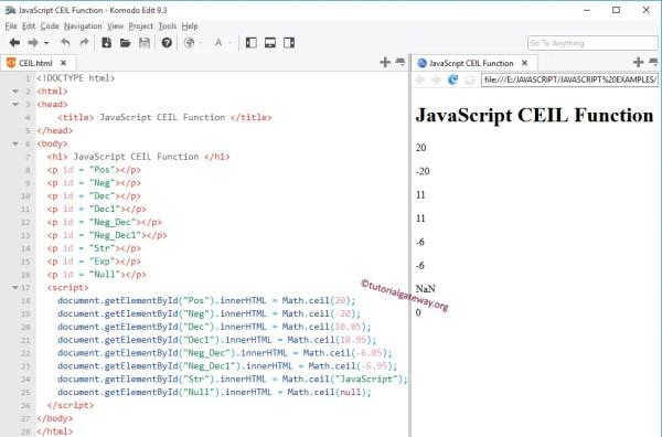 JavaScript CEIL Function