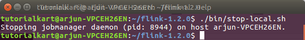 Stop Apache Flink Local cluster - Apache Flink Tutorials - TutorialKart.com