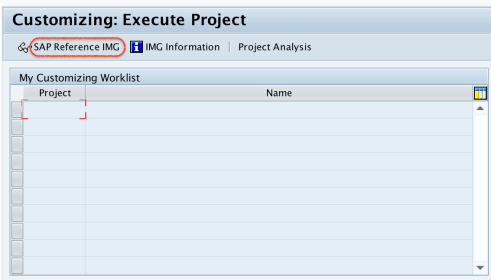 Customizing Execute project SAP Reference IMG