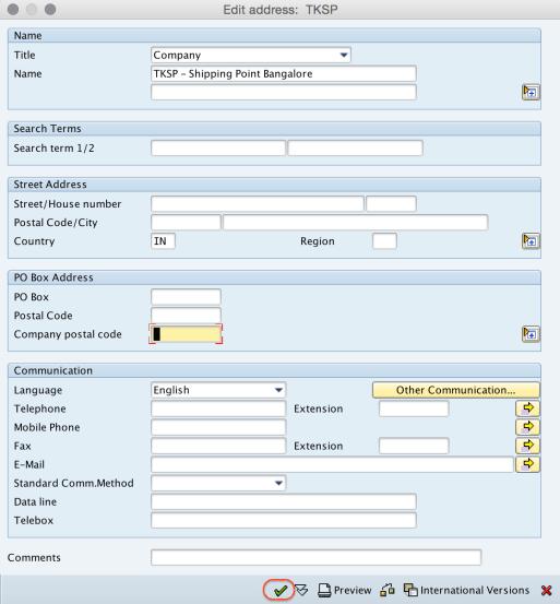Shipping Point SAP Address details