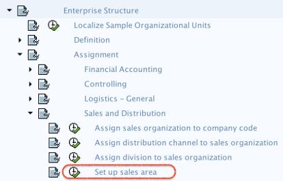 setup sales area in SAP - menu path