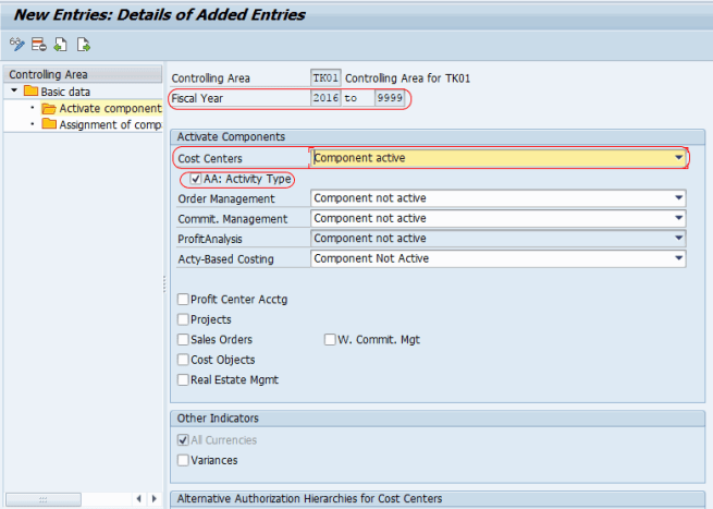 Activate Cost Center Accounting in Controlling Area SAP