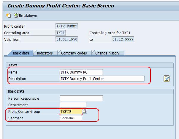 Create Profit Center group in SAP