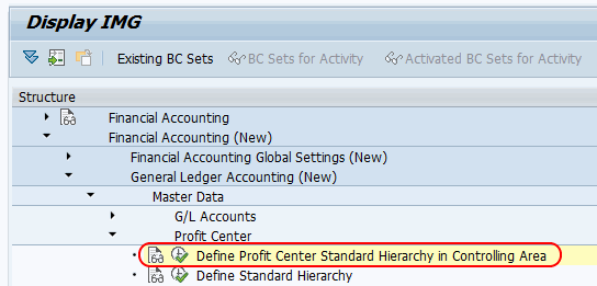 Profit Center standard hierarchy in controlling area menu path