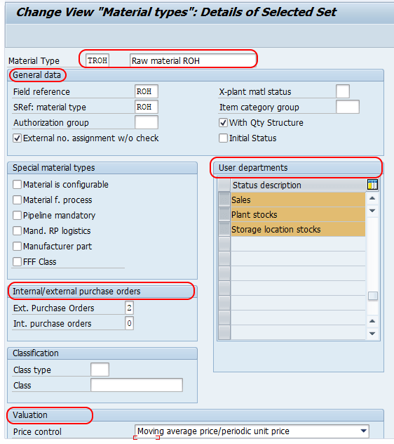 create material types in SAP