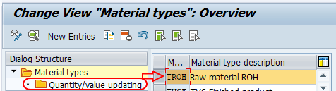 material types quantity value updating SAP