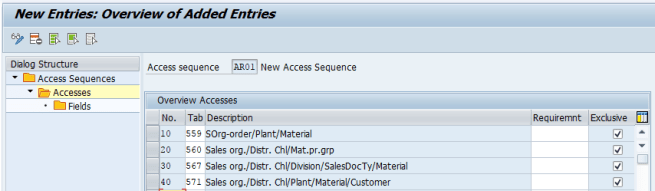 Accesses new entries in SAP